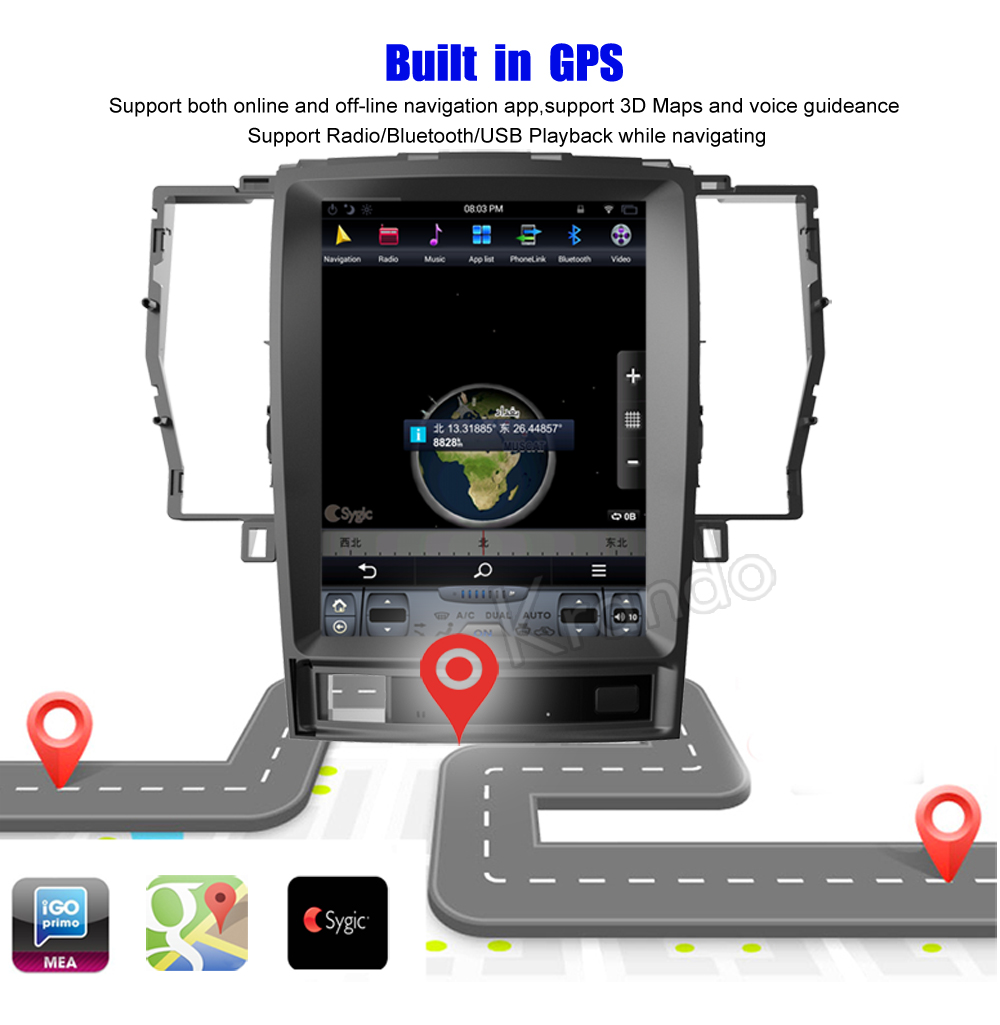 Krando Vertical screen android car radio multimedia for Toyota crown 2008-2012 Big screen navigation with gps system (1)