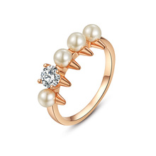 Delicate RHao Women Rose Gold Gear Finger Rings ladies office ol Pearl and Crystal tail rings for women Engagement rings