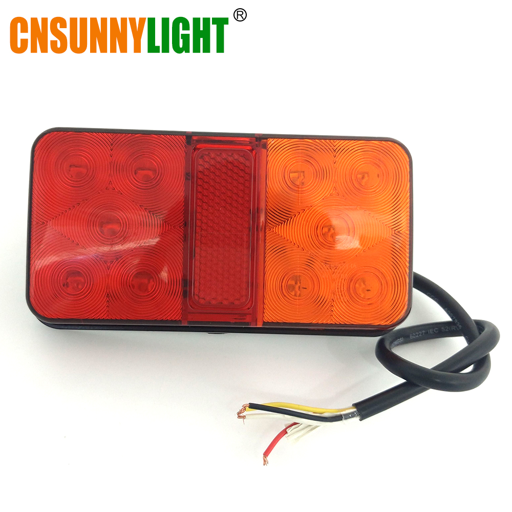 CNSUNNYLIGHT LED Car Truck Stop Rear Tail Brake Reverse Light Turn Indiactor 12V 24V ATV Trucks Trailer Lamps Tailight Assembly (4)