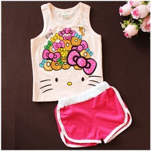 Hello Kitty Girls Summer Casual Clothes Set Children Cartoon T-shirt+Short Pants Sport Suits  Toddler Girl Clothing Sets
