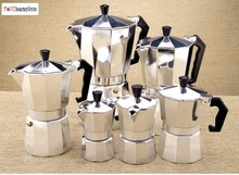 FeiC 1pc Aluminum moka pot Bialetti style 1-12 cups espresso maker coffee pot for gas stove cookern for barista