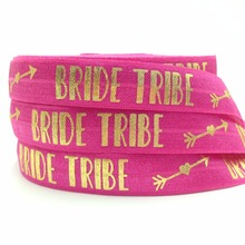 "Buy 10 yards/lot Bride Tribe Print Fold Elastic Rose Pink 5/8"" FOE Elastic Ribbon Hair Tie Hair Accessories for $3.34 in AliExpress store"