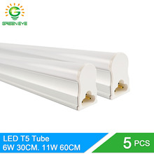 GreenEye 5pcs/lot Integrated LED T5 Light 220v 0.3m 6W / 0.6m 11W Tube Lamp T5 LED Cold White Warm Fluorescent Lights Neon 10W(China)