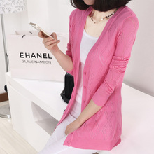 Spring And Summer Slim Medium-Long Knitted Sweater Cardigan Female Outerwear Sun Protection Clothing Female Cardigan