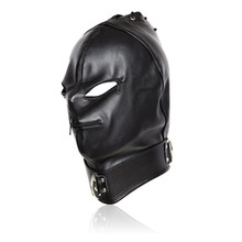 Buy Fetish PU Leather Sexy Mask,Bondage Hood Open Eyes & Mouth Zipper Cosplay Slave Mask,Adult Game Erotic Toys Couple