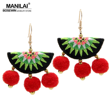 MANILAI Hmong Embroidery Earrings With Pom Pom Earrings Ethnic Style Accessories Dangle Earrings For Women 2017 Vintage Jewelry(China)