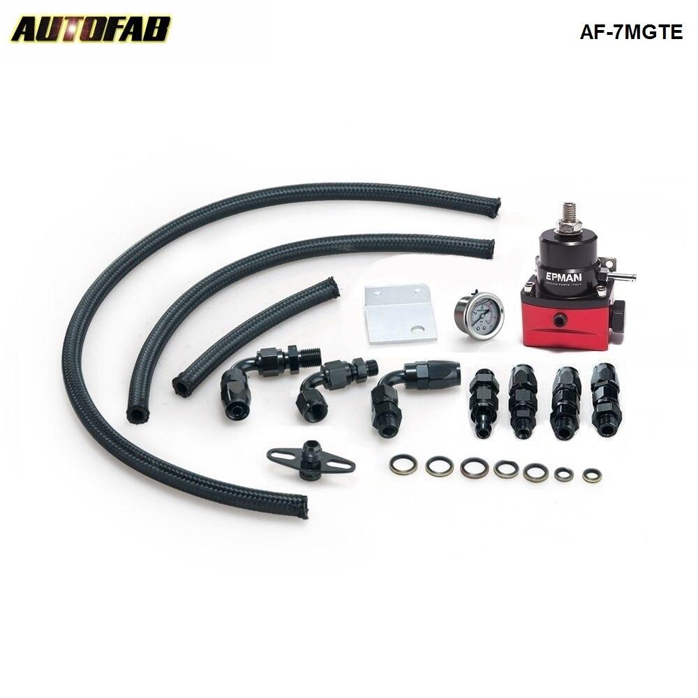 Racing Car New Billet Fuel Pressure Regulator+Gauge Kit Fittings With Oil Line Red For Honda Accord 03-07 AF-7MGTE
