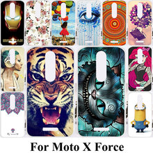 Cell Phone Cases For Motorola Moto X Force XT1585 XT1581 Droid Turbo 2 XT1580 Housing Covers Soft TPU Silicon Skin Tiger Cat Bag