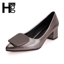 HEE GRAND Elegant Women's Pumps Fashion Pointed Toe Concise Design Low Square Heel Shoes for Woman WXG301