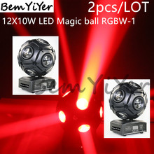2pcs/Lot  Colors 12x10W led magic ball beam moving head light/Crazy football/DJ shows/party/disco/ktv/mobile entertainers