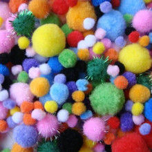 200piece/pack Mixed Color Multicolor Pompoms pom-pom Kindergarten DIY Art Craft Materials for Creative Kids Early Educational(China)