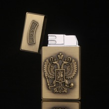 Russia Turkey Emblem Metal Carving Lighters Flameless windproof Cigarette Lighter Inflatable Gas Butane Smoker Best Gift