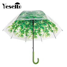 Yesello 1PCS Rainny Sunny Princess Dome Bubble Umbrella Leaves Transparent Cute Umbrella Cute Clear for Women(China)