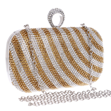 Strip Design One Side Rhinestones Women Evening Bags Finger Ring Diamonds Purse Small Day Clutches With Chain Bag