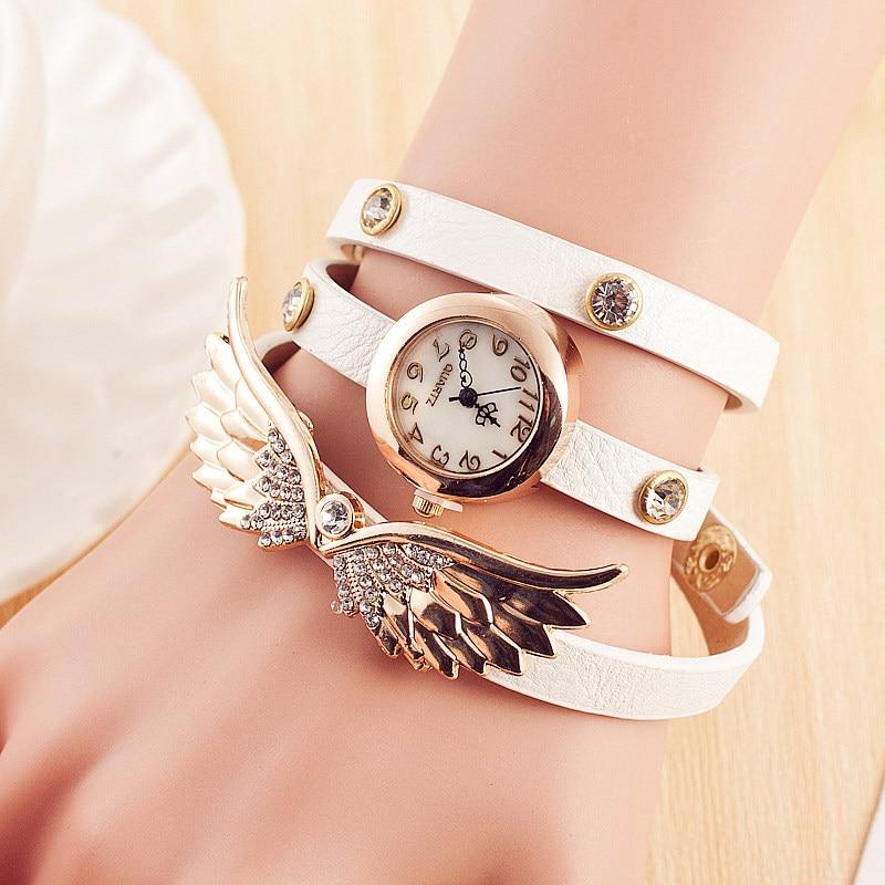 Hot Sale Vintage Leather Watches Set Auger Angel Wings Rivet Bracelet Watches Women Dress Quartz Watch Relogio Feminino<br><br>Aliexpress