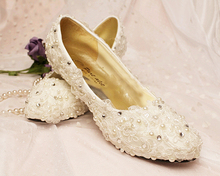 New Crystal White Lace Glitter Rhinestone Shoes for Graduation Party Prom Fashion Woman's Wedding Dress Shoes for Bridal
