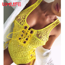 UMLIFE 2017 Sexy Lace One Piece Swimsuit Women Bandage Hollow Out Swimwear Bodysuit Solid Bathing Suit Monokini Vintage Swimsuit