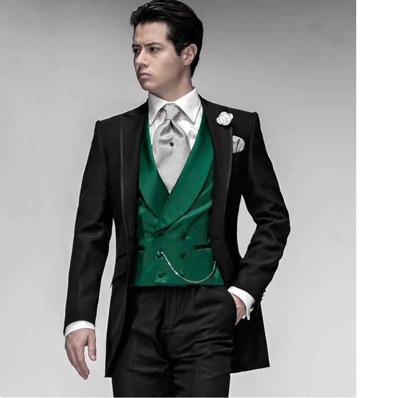33-1 Custom black men\'s groom suit green vest wedding suit bridal tuxedo party suit business (jacket + pants + vest)