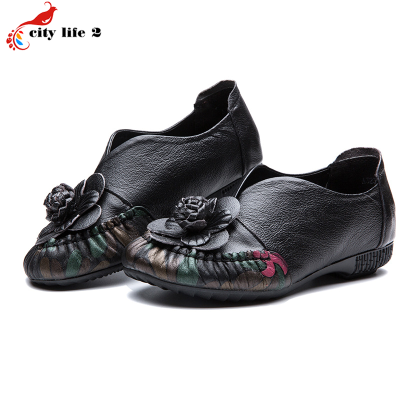 Retro Folk Style Handmade Flowers Leather Shoes Non-Slip Waterproof 2017 Mother Middle-Aged Women Shoes Shoes Asakuchi Size 41<br><br>Aliexpress