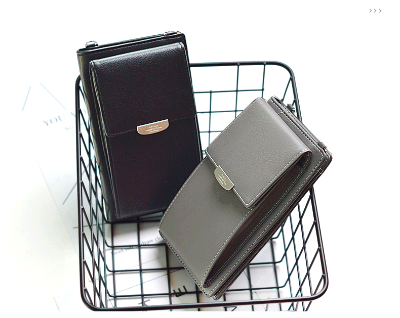 19 New Women Casual Wallet Brand Cell Phone Wallet Big Card Holders Wallet Handbag Purse Clutch Messenger Shoulder Straps Bag 26