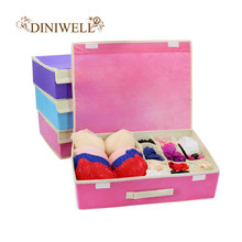 DINIWELL 10 Cell Colorful Coverd Nonwoven Foldable Underwear Organizer Closet Drawer Storage Box For Socks Ties Bra Lingerie(China)