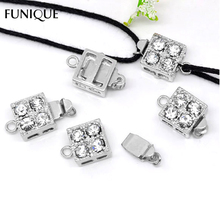 2016 New FUNIQUE Clasps Findings 5Sets Square Rhinestone Pinch Push Clasps For Bracelets & Necklace Jewelry DIY 16x10mm(China)