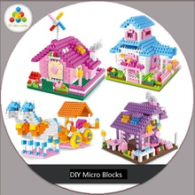 YZ Diamond Blocks Mini Pink House Building Bricks Cinderella Coach Model Toy Brinquedos Kids toys  Girls Gift YZ037-YZ040