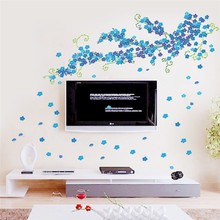 DIY blue Blossom Flower Green Flore Tree Branch home wedding decorative wall sticker romantic bedroom TV background decal poster