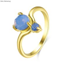 1 Piece Gold Color Copper Opal Heart Charms Rings Party Decoration Romantic Simple Women Fashion Jewelry Size 6-9
