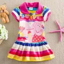 One piece!New 2016 summer dresses baby girls printing pig dress fashion children kids clothes tutu dress