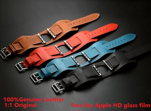 1:1 Original Design Cuff Bracelet Genuine Leather Band For Apple Watch Band Wide Wrist Strap For iWatch With Adapters 38MM 42MM<br><br>Aliexpress
