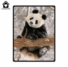 CHARMHOME Custom Special Design Giant Panda Fleece Flannel Blankets Throws Sofa Bed Throw Blanket Kid Adult Warm Blanket(China)