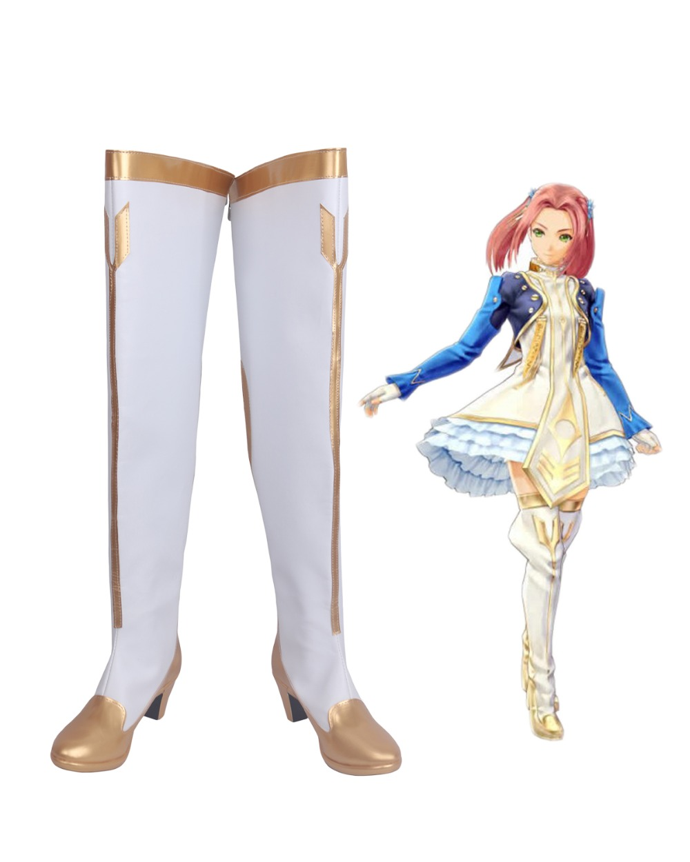 Tales of Berseria Eleanor Hume Cosplay Boots White Shoes Custom Made Any Size