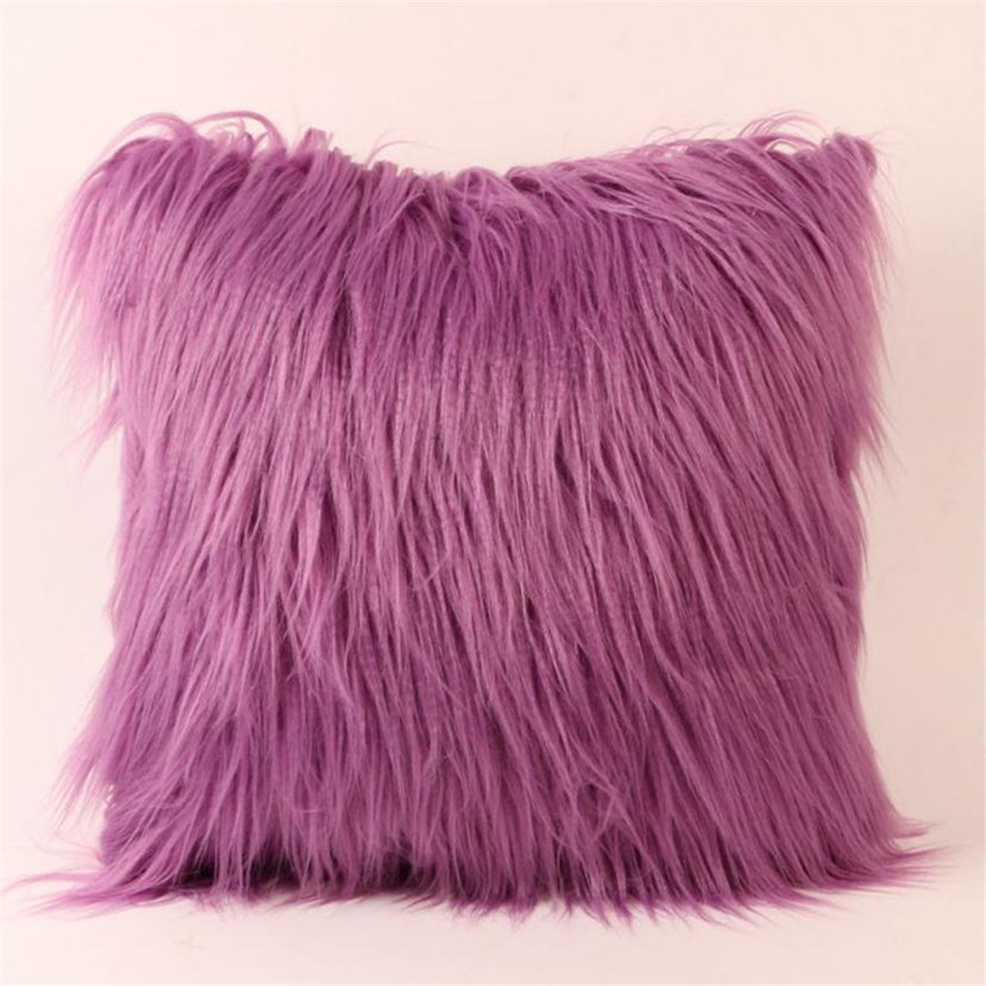 Solid Plush Furry Throw Pillow Case 45*45cm