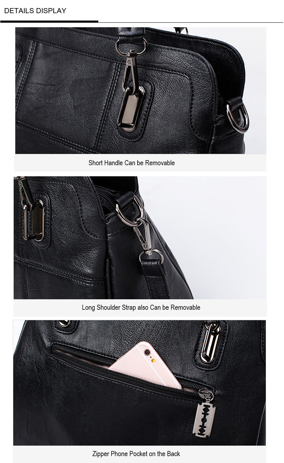 Bonsacchic Fashion Ladies Hand Bag Women's Genuine Leather Handbag Black Leather Tote Bag Bolsas femininas Female Shoulder Bag 6