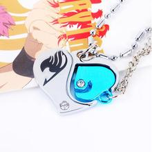 1pcs/set New Design Hot Anime Fairy Tail Valentine Lovers Couples Diamante Heart Pendant Necklace Cosplay Accessories