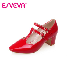 Lovely Girl Red Patent Leather T-strap Square Toe Casual Shoes Thick High Heel Woman Pumps Spring Ladies Wedding Shoe Size 34-43