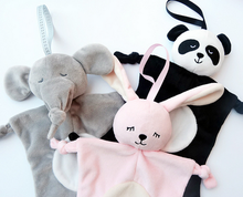 Cute Baby Panda Plush Toys Pink Rabbit Multifunctional Appease Towel Gray Elephant Baby Saliva Towel 129