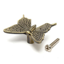 New Arrival Vintage 3D Butterfly Cabinet Handle Knobs Kitchen Furniture Drawer Pull Knob DIY Home Tools(China)