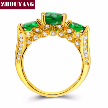 ZHOUYANG Created Green Crystal Green Ring Gold-Color Elegant Jewelry Cubic Zirconia Austrian Crystal Full Size Wholesale ZYR625