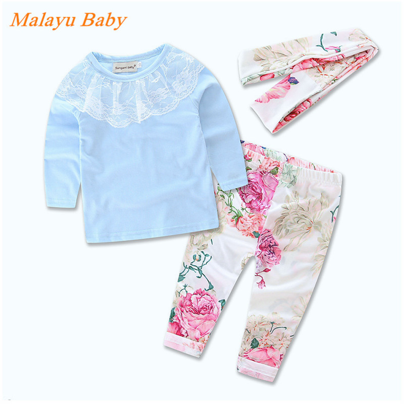 2017 Europe &amp; United States the new spring fall baby suite. Lace collar light blue shirt + Floral trousers + headband three set <br><br>Aliexpress