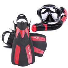 Tempered Glass Professional Snorkels Scuba Diving Mask Goggles Glasses Diving Swimming Fins Flippers Set Diving Equipment(China)