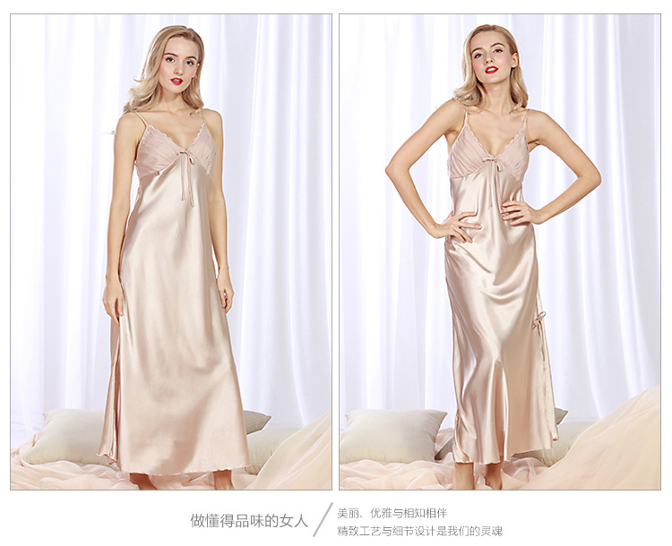 Sexy New Summer Solid Spaghetti Sleepshirts Women's Lady Lingerie Satin Silk V-Neck Night Dress Nightgown Long Sleepwear M L XL