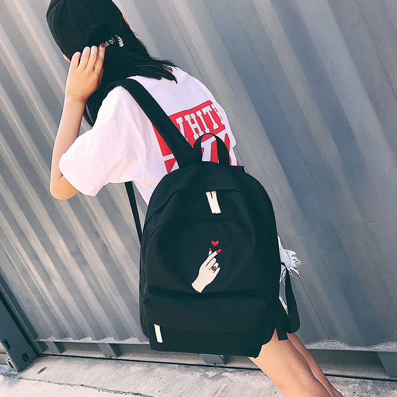 Men Canvas Backpack Cute Fashion Women Rose Embroidery Backpacks for Teenagers Women's Travel Bags Mochilas Rucksack School Bags (72)