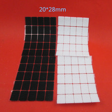 100Pairs 20*28mm white and Black rectangle Magic Nylon Sticker Double Sided Adhesive Hooks Loops