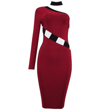 Top quality2017 new winter women's dress wholesale wine red black and white one shoulder bandage dress party dress dropshipping(China)