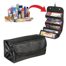 PACGOTH Portable Makeup Wash Bag Big Storage Organizer Black Rectangle Cosmetic Bag Travel Bag 51cm x 24.5cm,1 PC