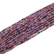 Lii Ji 20cm Natural Ruby Sapphire Round Shape Faceted beads Approx 4mm DIY Jewelry Making