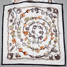 Fashion Rings Print 100% Silk Twill Scarf Wraps Shawl Women Ladies Square Silk Sacrves Accessory for OL 90x90cm