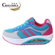 Crocodile 2017 Brand Women Sneakers Young Lady Mesh Height Sneakers Jogging Cushioning Baseball Shoes Outdoor Women Sport shoes(China)